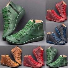 Женские ботинки; Женская обувь в стиле панк; ботинки Осень-зима; женские ботильоны из искусственной кожи с перекрестными ремешками; обувь на плоской подошве; женская обувь; botas mujer