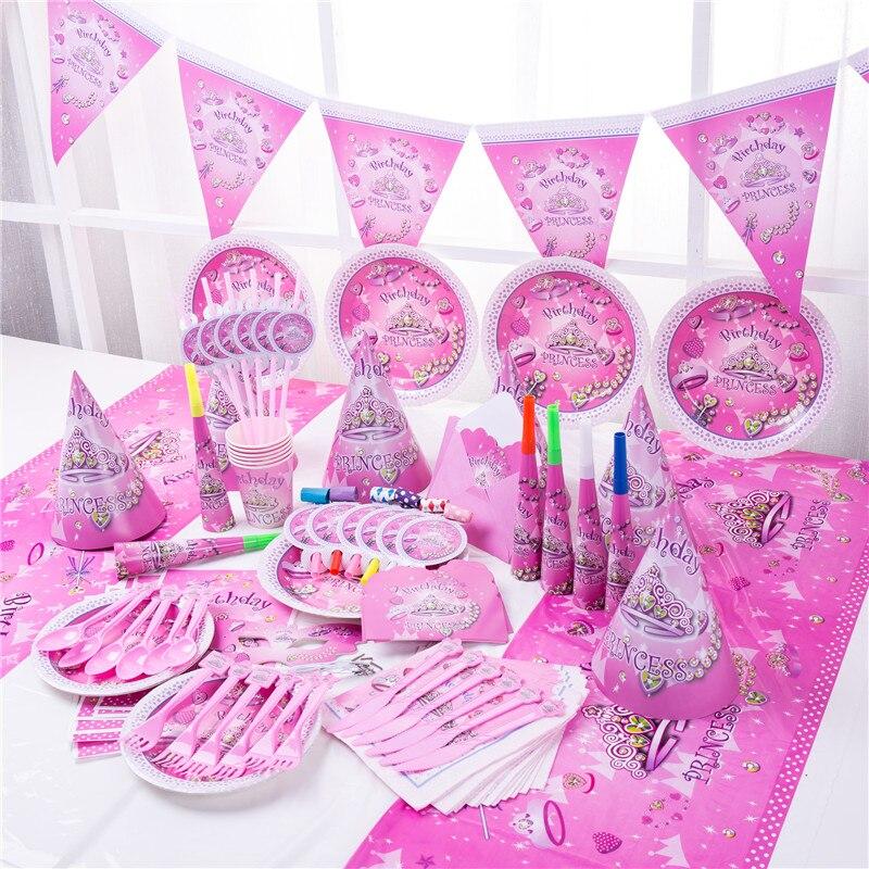 Принцесса Корона, товары для вечерние Ринок, глиняные салфетки, баннер, одноразовая посуда, украшение для свадебной вечеринки, детский праз...