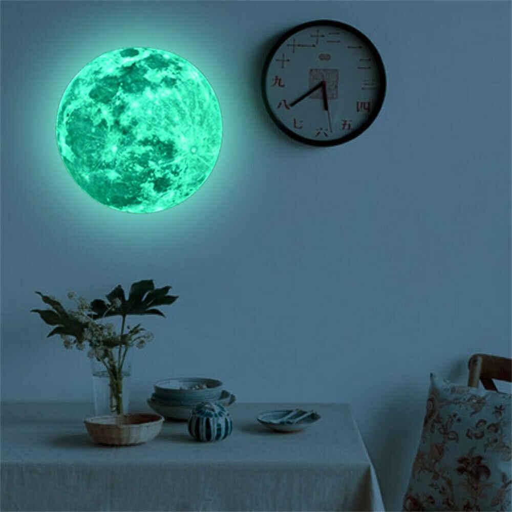 3D Луна светящаяся наклейка для стены DIY Луна Светит темная Земля для украшения женской комнаты светится в темноте стена детская комната, Наклейка Декор