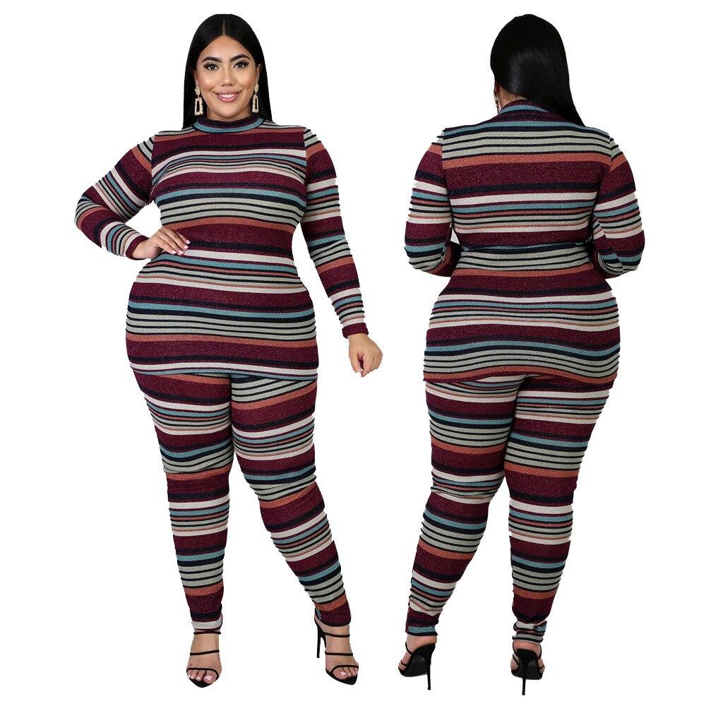 Женская одежда размера плюс, комплект из двух предметов, полосатый высокоэластичный костюм для фитнеса, домашняя одежда, подходящий компле...