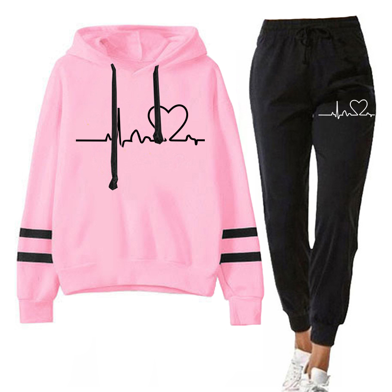 Women Tracksuits Autumn Spring Clothing Female Suits 2 Pieces Set Hooded Sweatshirts and Black Pants Casual Outfits Love Print 1