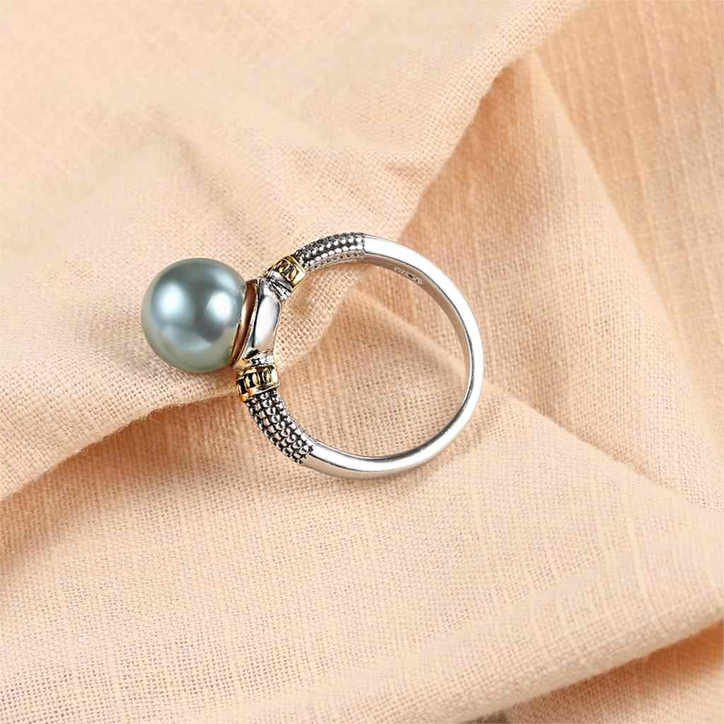 Elegant Style Rings For Women Perfect Round Gray Imitation Pearls Yellow White Gold Color Engagement Fashion Gift Jewelry KBR431
