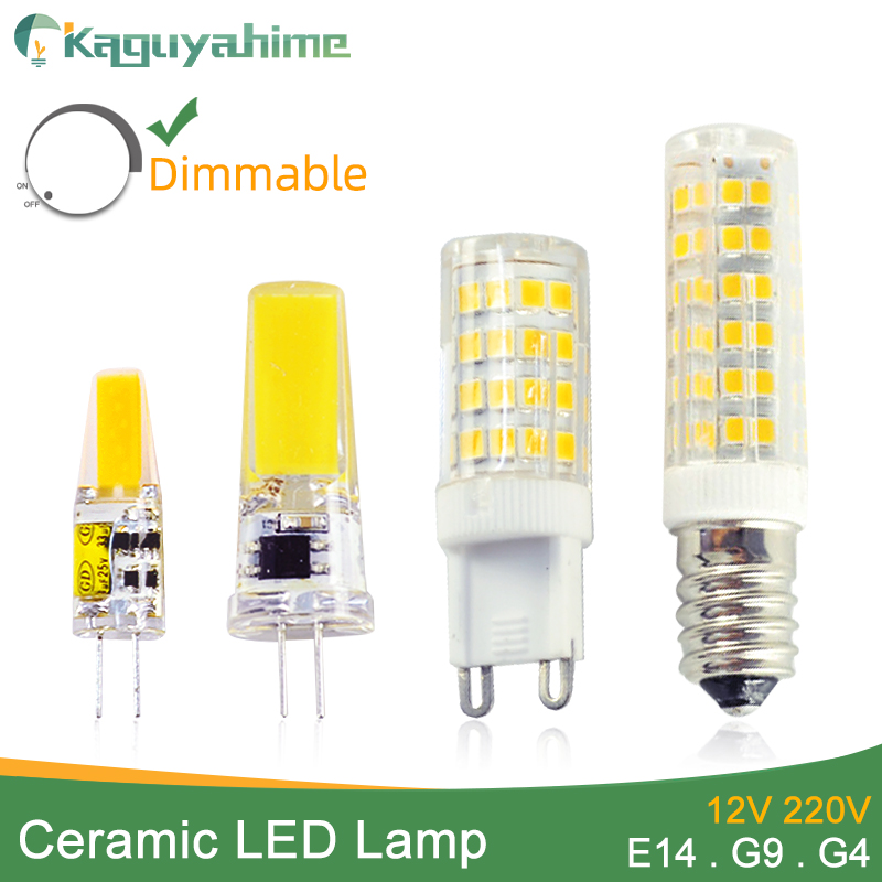 Kaguyahime Ceramics Dimmable E14 G4 G9 LED Lamp Bulb 220V AC DC 12V 3W 5W 6W 7W 9W 10W 12W COB SMD 2835 2508 LED Bulb Light