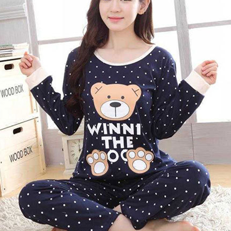 Autumn Winter Warm Flannel Women Pyjamas Sets Soft Long Sleeve Sleepwear With Cute Bear Pattern