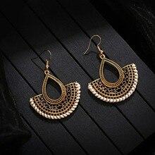 Retro Sector Gold Color Hollow Turkish Jewelry Indian Jhumka Earrings Bijoux Handmade Women's Vintage Turkey Boho Earrings
