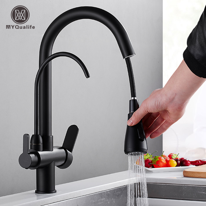 Stainless Steel Matte Black Pure Water Kitchen Faucet Dual Handle Hot And Cold Drinking Water Pull Out  Kitchen Mixer Taps