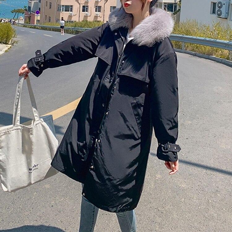 FMFSSOM Новинка 2020 осень зима модное однотонное хлопковое Стеганое пальто теплая плотная стеганая верхняя одежда женские парки с капюшоном|Парки|   | АлиЭкспресс