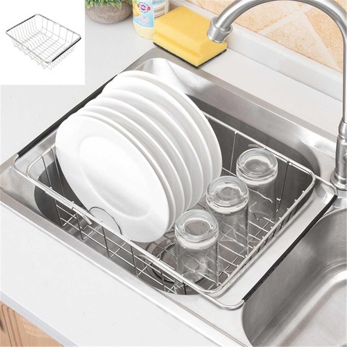 Adjustable Over Sink Dish Drying Rack Stainless Steel Kitchen Storage Basket Drain Holder Fruit Rustproof Bowl Dish Glass Rack