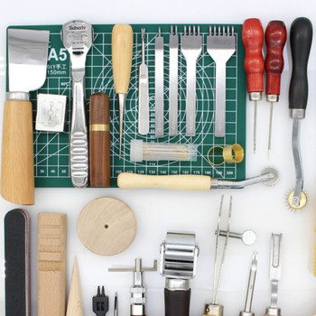 LeatherCraft 32 Pcs/lot Leather Tools for Hand Tool Set Edge Beveler Groover Leather Processing Tool Free Gifts Exercise Leather