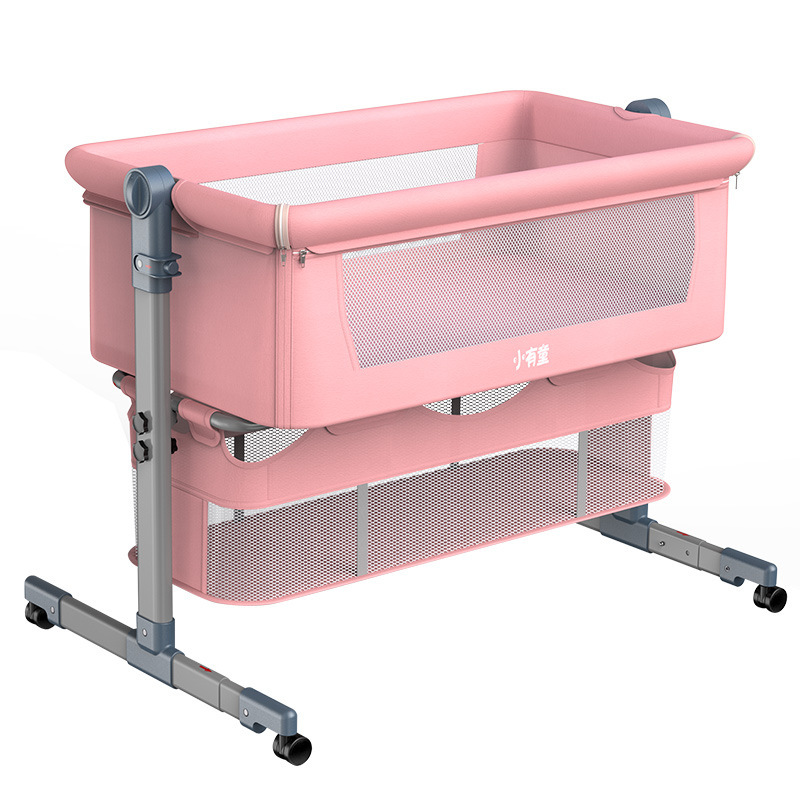 Portable Removable Crib Foldable High and Low Adjusting Stitching Large Bedside Bed Baby Lift