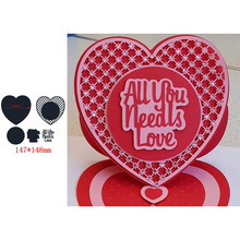 Hot-selling Popular Circle Hollow Heart Shape ALL U NEEDS LOVE Words Metal Cutting Dies Scrapbooking Album Paper DIY Cards Crafts Embossing New 2019