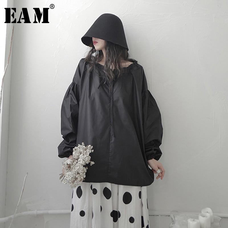 [EAM] Women White Brief Big Size Blouse New Round Neck Long Lantern Sleeve Loose Fit Shirt Fashion Spring Autumn 2020 1S673