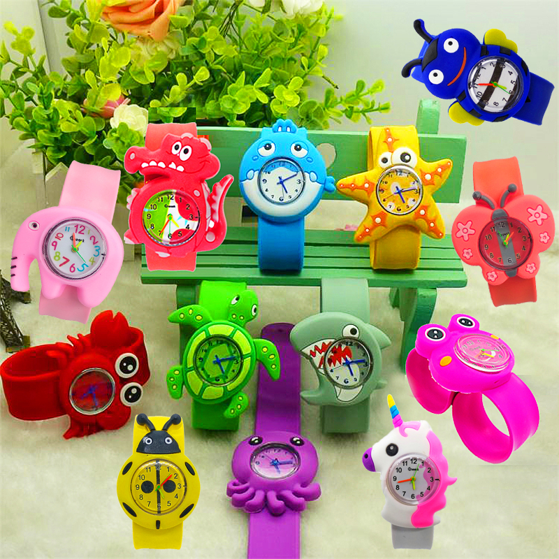 3D Crab/Turtle/Shark Toys Kids Cartoon Watches Silicone Band Slap Watch Children Clock Creative Quartz Wristwatch Christmas Gift