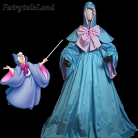 Cinderella Fairy Godmother Dress Cartoon Fancy Cosplay Halloween Women Costume Butterfly Coat With Hood Magic Outfit