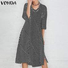 VONDA Women Sexy 3/4 Sleeve Striped Party Dresses Cotton Split Hem Holiday Dress Bohemian Vestidos Plus Size Fashion Sundress