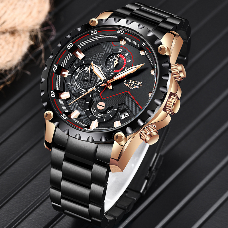 LIGE Watch Men Top Brand Luxury Mens Watches Sports Stainless Steel Waterproof Chronograph Quartz Wrist Watch Relogio Masculino