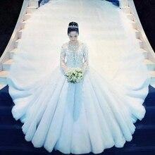 2020 مخصص الأميرة تصاميم جديدة الكرة ثوب فساتين الزفاف كم طويل مطرز زي العرائس Vestidos De Novia Mariage فستان