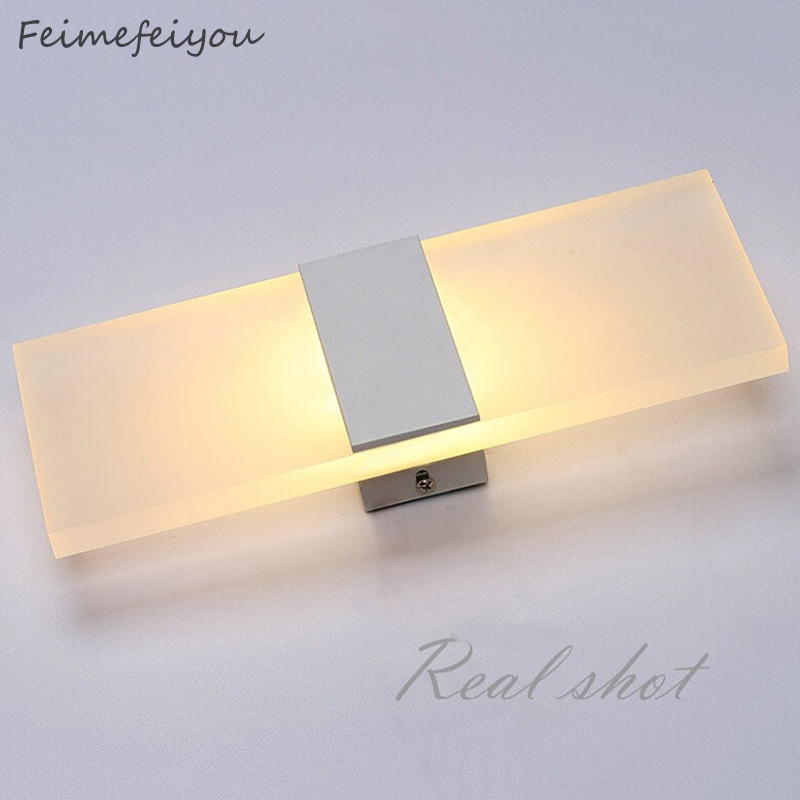 Feimefeiyou Mini 3/6/12W Led lámpara de pared de acrílico AC85-265V largo blanco cálido dormitorio sala de estar lámpara de pared interior
