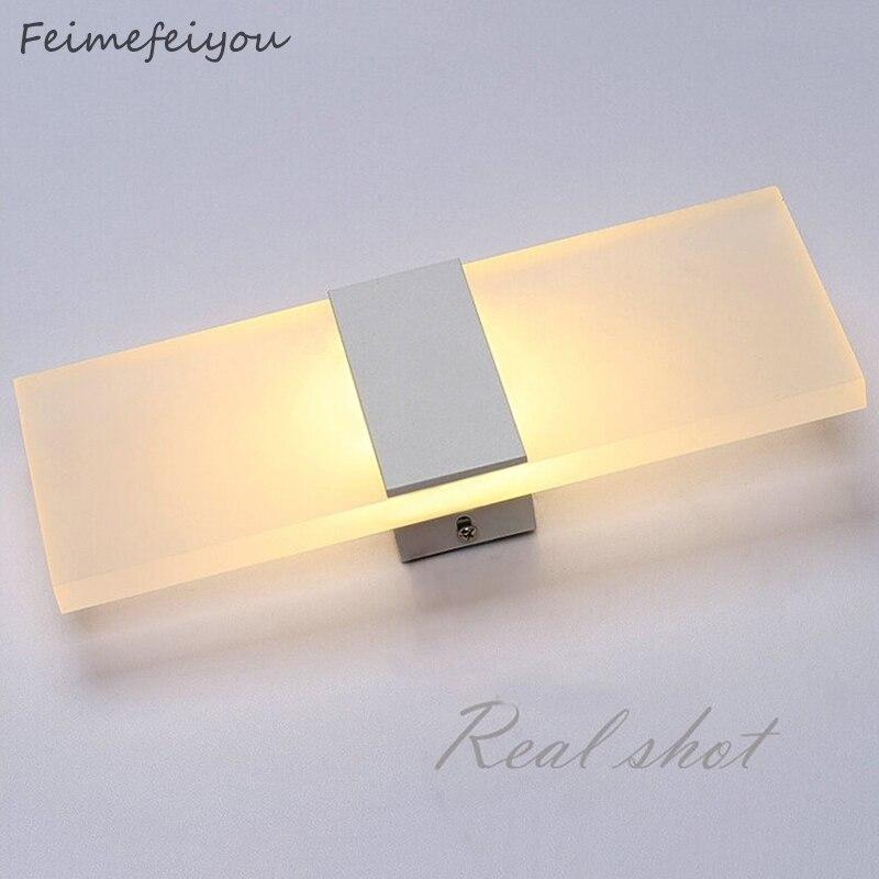 Feimefeiyou mini 3/6/12 w led acrílico lâmpada de parede AC85-265V longo branco quente quarto cama sala estar lâmpada parede interior