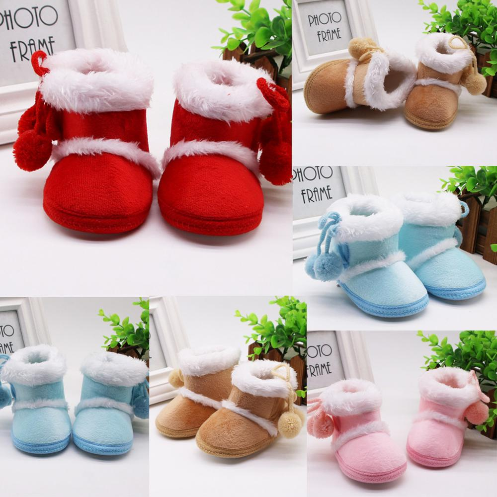 Baby Girl Boy Snow Boots Winter Half Boots Infant Kids New Soft Bottom Shoes Bandage Warm Shoes