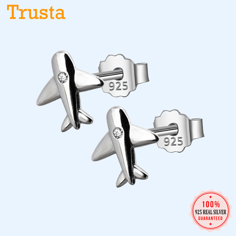 Trusta 100% 925 Sterling Silver Aircraft Airplane Plane 9mmX10mm Stud Earrings Women's With Bright CZ Handmade Jewelry DS222 image