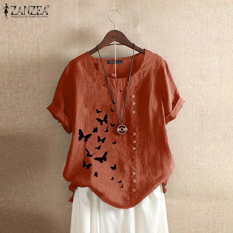 Elegant Summer Tee Shirts Women's Printed Blouse 2020 ZANZEA Vintage Button O Neck Blusa Female Short Sleeve Tunic Plus Size 5XL