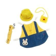 Pet Rabbit Clothes Denim Jacket Coat Small Animal Harness Leash Vest Bag Hat Set for Ferret Bunny Hamster Puppy Kitten Wholesale