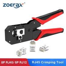 Ferramenta de friso de zoerax rj45, ferramenta de crimper para 8p/RJ-45 & 6p/RJ-12, RJ-11
