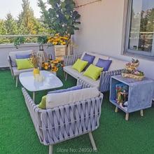4 шт. веревка и алюминиевый патио уличная мебель набор садовый газон диван секционный набор с подушкой, журнальный столик