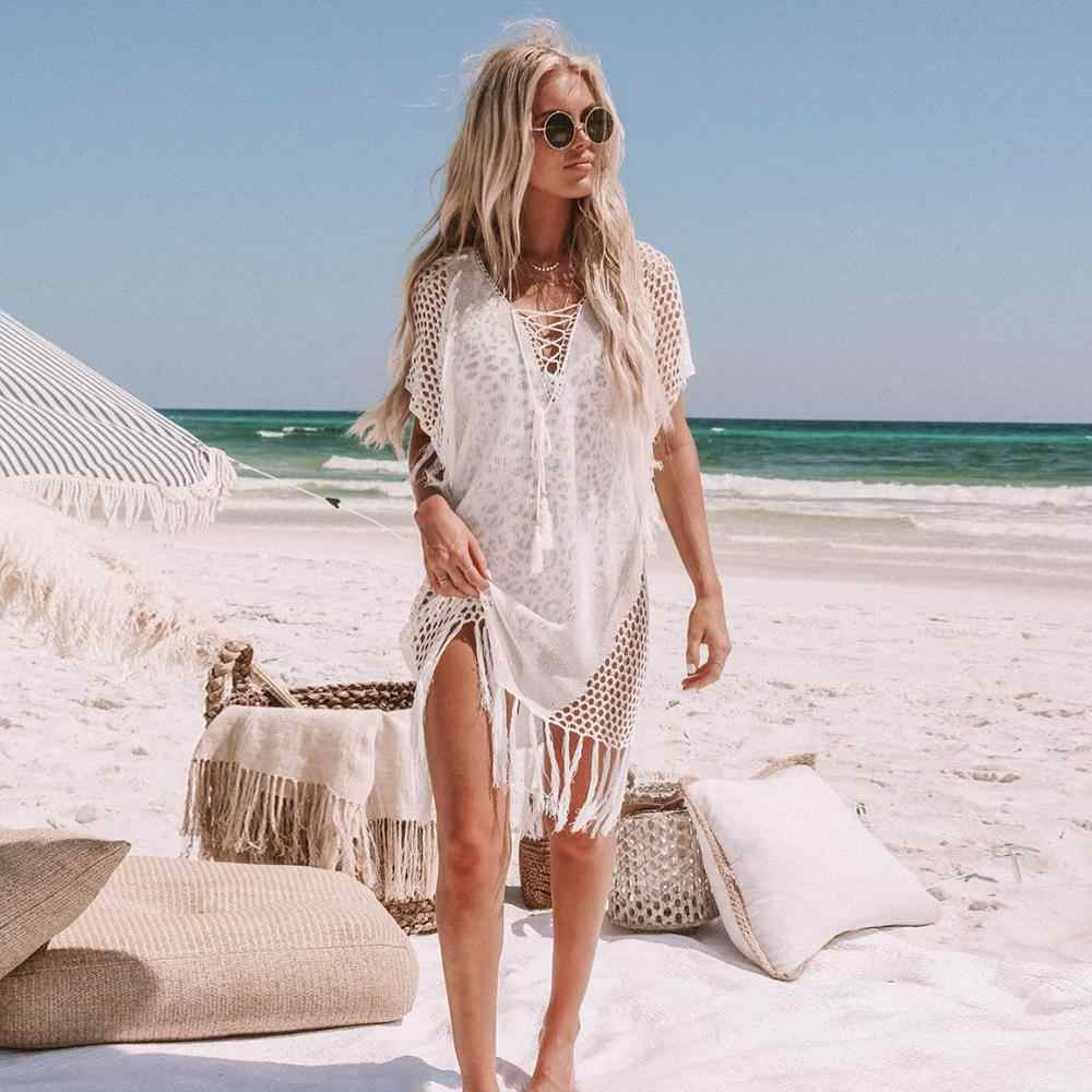 Ashgaily 2019 Del Nuovo Crochet Bianco Lavorato A Maglia Beach Cover up dress Tunica di Long Beach Dress Bikini Cover up Swim Cover up beachwear