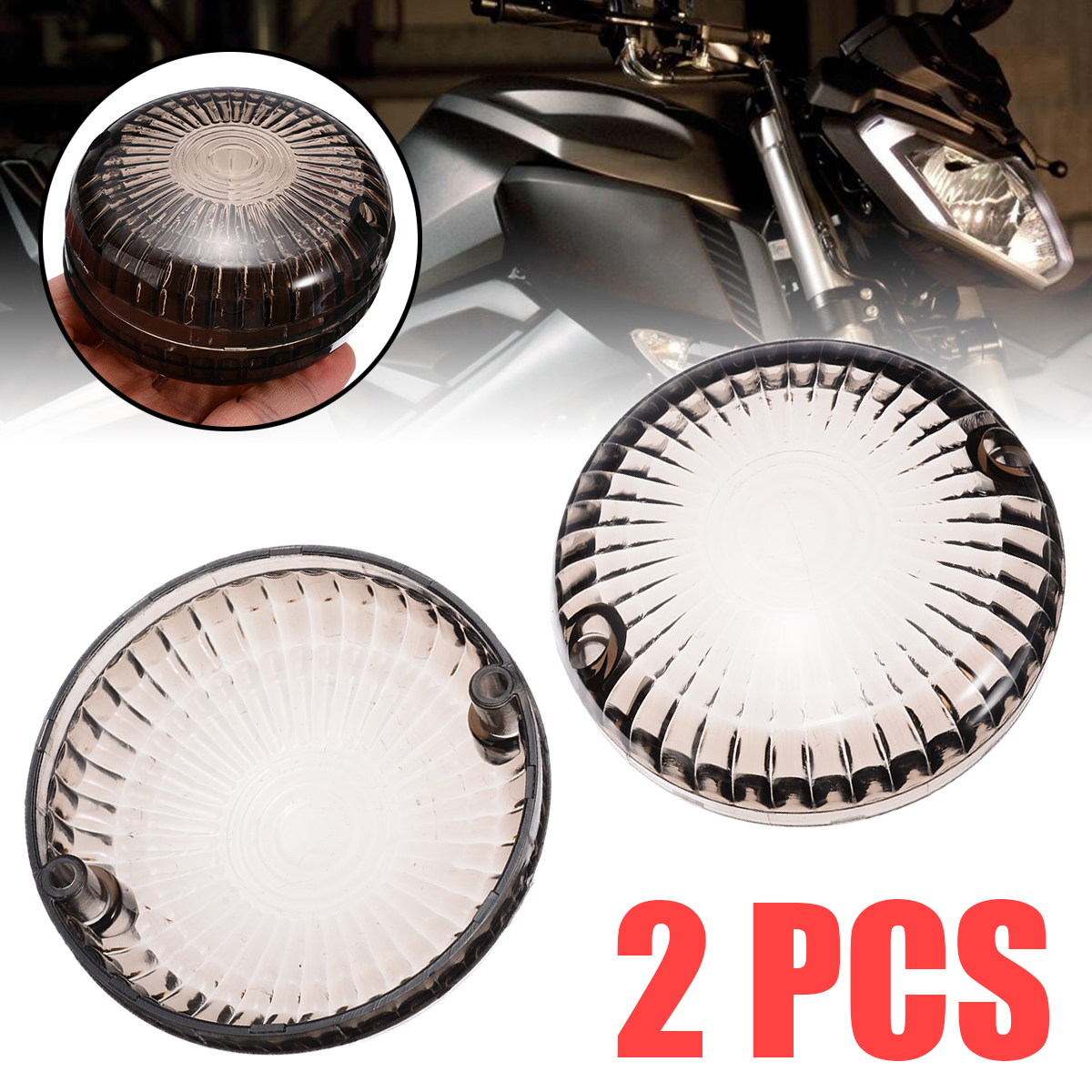 Mayitr 2Pcs Motorcycle Smoke Turn Signal Light Indicator Lens Cover For Yamaha V-Star 1100 Silverado 650 Road Star V-Max