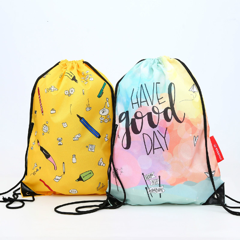 Shopping Bag Drawstring Drawer Bag Color Portable Customized Color Drawstring 210D Polyester Backpack Green Shopping Bag