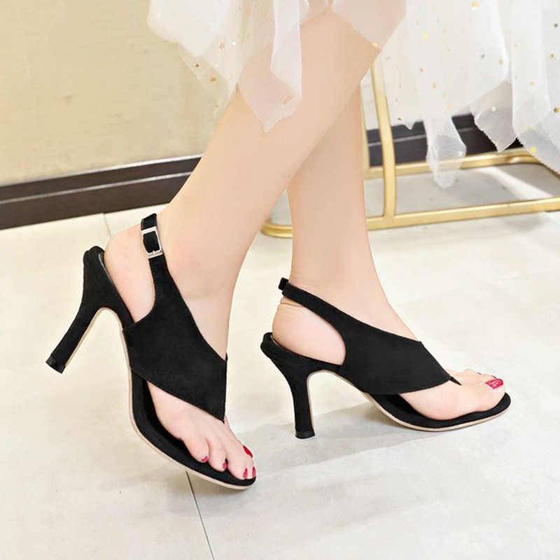 Kadın yaz ince topuklu Flip flop akın burnu açık sandalet kadın zarif sandalet kadın rahat tutam ayak bileği kayışı moda ayakkabılar
