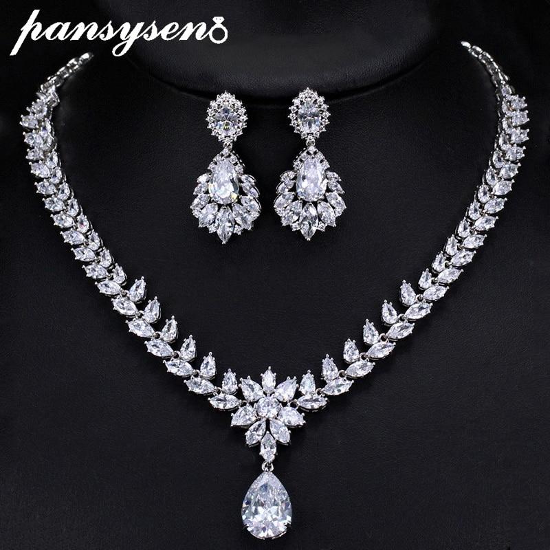 PANSYSEN 925 ensembles de bijoux en argent Sterling pour femmes avec zircon cubique AAA grand collier/boucle d'oreille