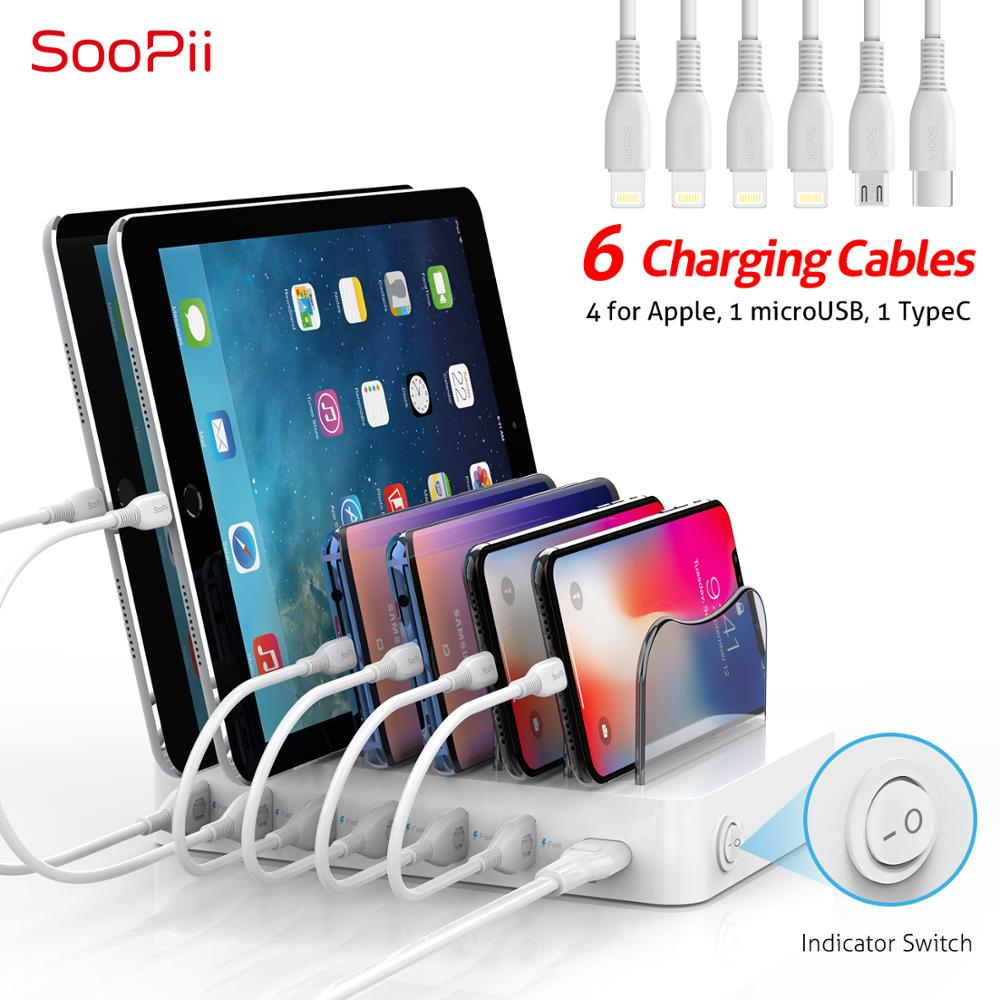 Soopii 50W/10A 6-Port USB Charging Station Organizer for Multiple Devices, Dock Station with 6 Mixed Cables Included