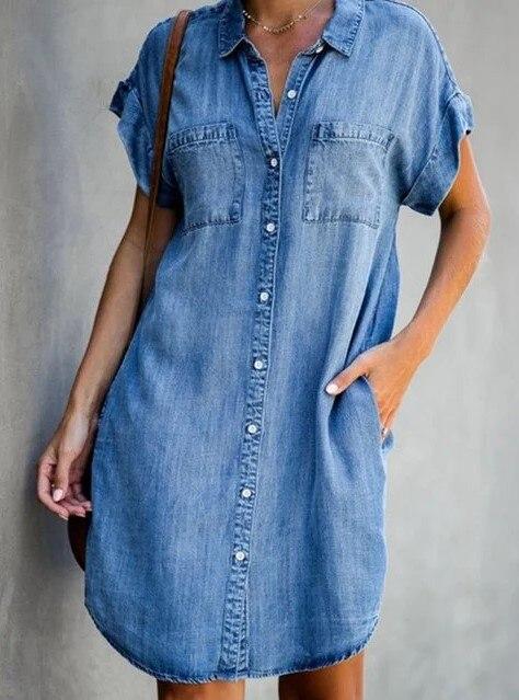 Women Denim Mini Shirt Dress Robe Jean Chemise Femme Double Pocket Short Sleeve Button Up Jeans Dress 2020 Vestidos Mezclilla Dresses Aliexpress