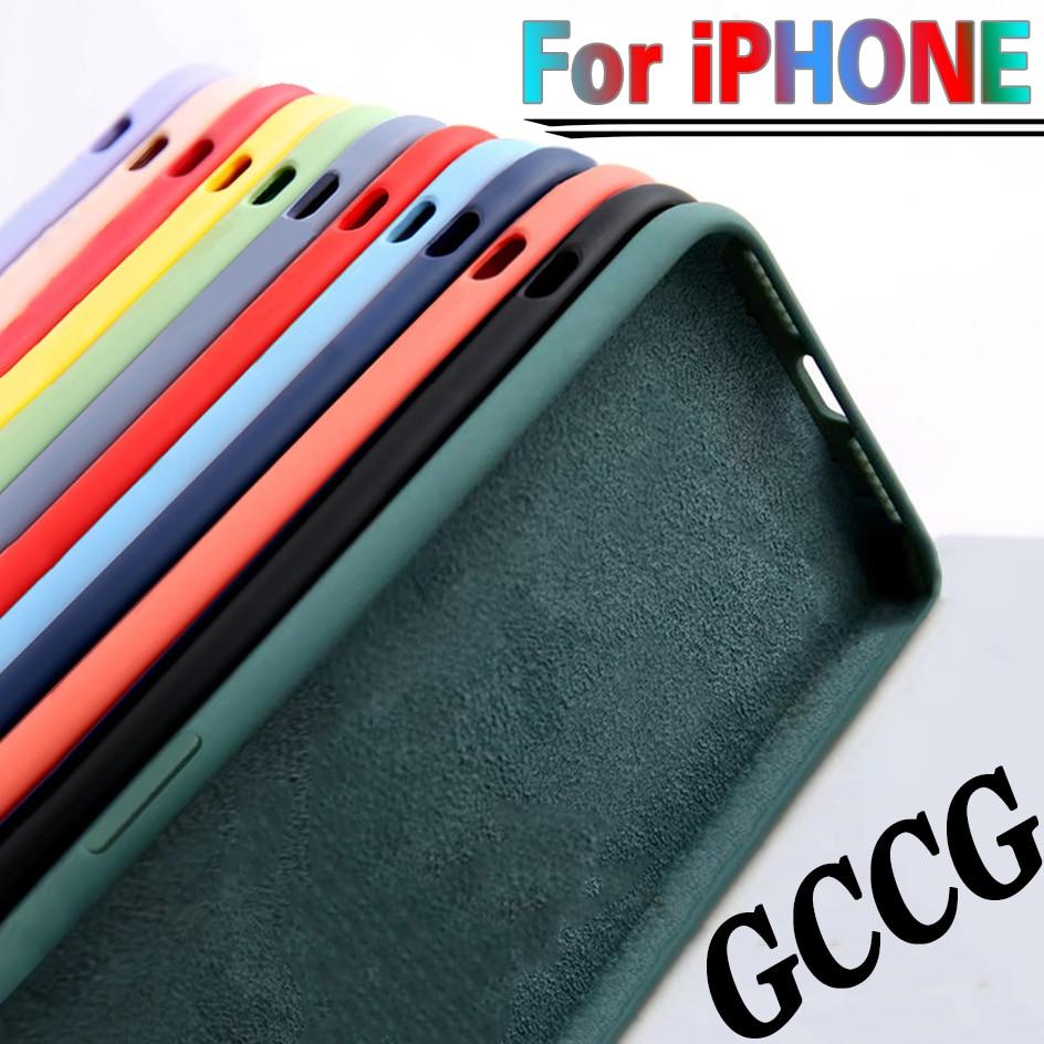 Para o iphone 7 6s 8 plus caso de luxo original líquido silicone macio capa para o iphone 11 12 pro x xr xs max à prova de choque caso telefone