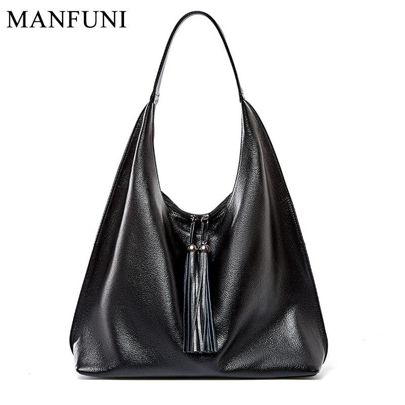 New Women Shoulder Bag 100% Genuine Leather Fashion Tassel Hobos Handbag Ladies Messenger Crossbody Purse Black Purse Tote