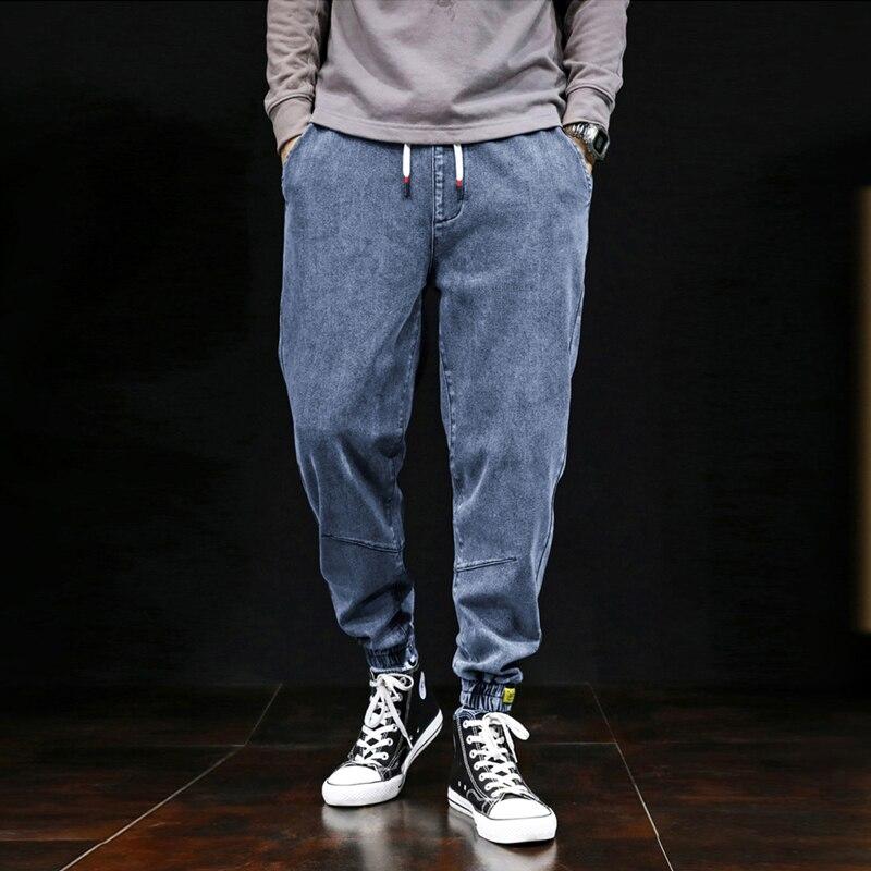 Japanese Vintage Fashion Men Jeans Large Size S-7XL Big Man Elastic Harem Jeans Cargo Pants Designer Hip Hop Joggers Jeans Men