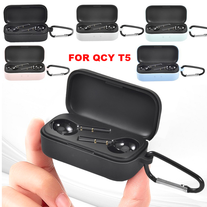 JINSERTA Soft Silicone Case For QCY T5  TWS Headset Protective Cover With Carabiner For QCY T5 Bluetooth Earphone Charging Box