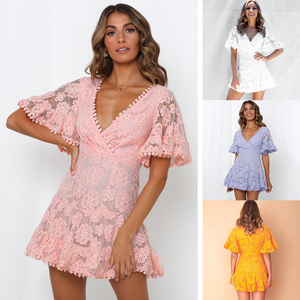 Image 5 - Anself Women Party Lace Dress V Neck Batwing Sleeve A Line Empire Dress Mini Woman Sexy Summer Dresses