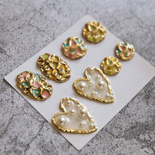 2 pcs new design hot-sales alloy drop oil irregular pendant wave pattern oval pearl heart-shaped earrings jewelry accessories