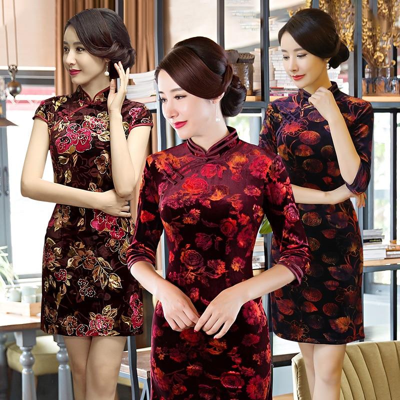 Sale Slim Fit-Style Retro Short Cheongsam Dress National Wind Middle-aged Women Dress Chinese-style WOMEN'S Dress