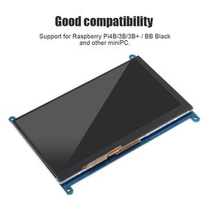 """Image 4 - Pojemnościowy ekran dotykowy LCD ekran dotykowy dla Raspberry Pi 4B/3B/3B + 7 """"1024*600 HDMI pojemnościowy ekran dotykowy napęd USB za darmo dla BB czarny"""