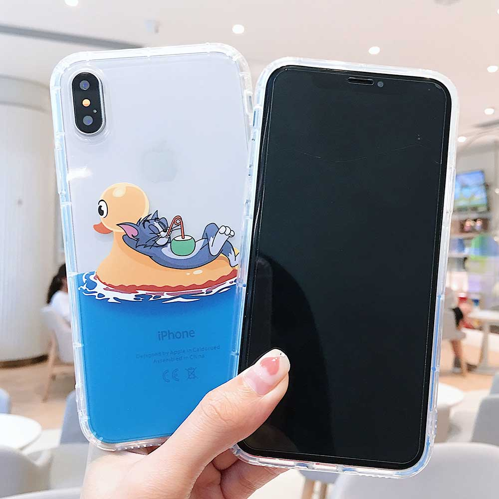Surfing Tom and Jerry Cartoon Phone Couple Case Soft TPU For iPhone 6 6s 7 8 Plus X XS XR XSMax in Half wrapped Cases from Cellphones Telecommunications