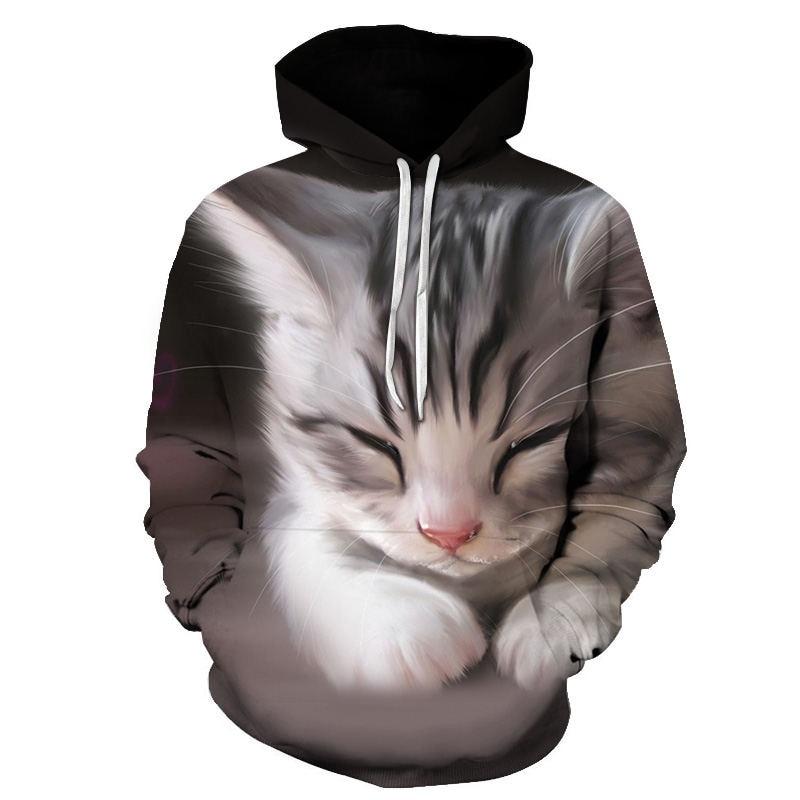 Women's Two Cat Sweatshirts Long Sleeve 3D Hoodies Sweatshirt Pullover Tops Blouse Pullover Hoodie Poleron mujer Confidante Tops 59