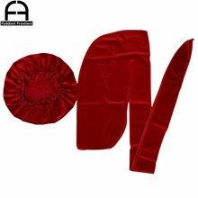 Premium Men Velvet Durag Match Bonnet for Women Bandanas Turban Hat Long Tail Do Wave Cap
