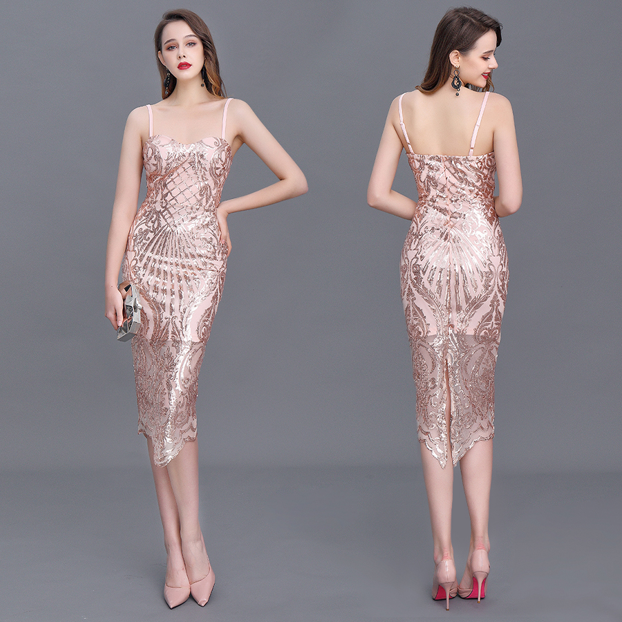 Prom/Cocktail Dress Hot Sale Sexy Sheath Spaghetti Straps Tea-length Polyester Zipper