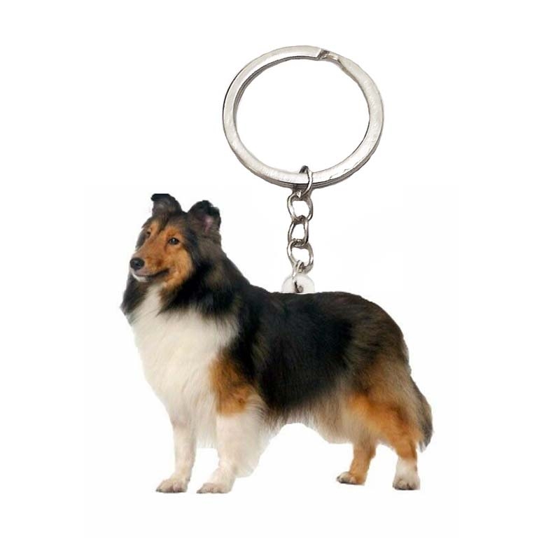 Shetland Sheepdog Shelti Keychain Acrylic Chain Keyring Steel Ring Charms For Men Womens Animal Charms Friends Xmas Gift Pet