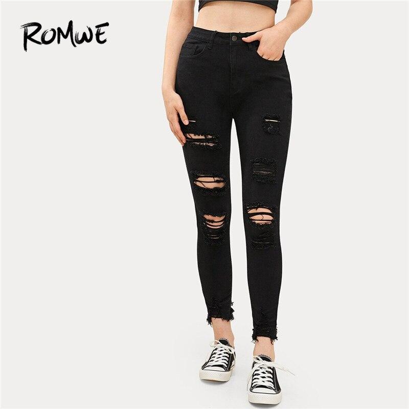 ROMWE Solid Frayed Edge Jeans Ripped Jeans For Women Streetwear Black  Jeans Fall Zipper Fly Skinny Jeans Denim Casual Pants